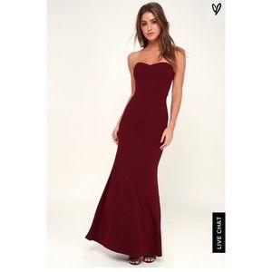 Lulu's Strapless Bridesmaid Dress in Burgundy